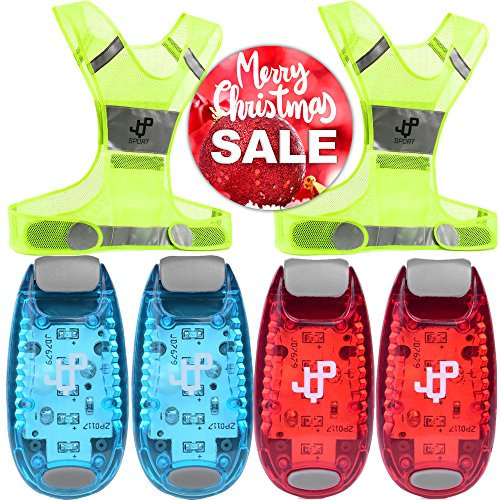 Christmas Sale 2 Running Vest and LED Safety Light Sets (4-Pack with Clip and 3 BONUSES), Waterproof Running Light and Reflective Vest, suitable for Jogging, Cycling, Biking, Dog Walking, Strobe Light