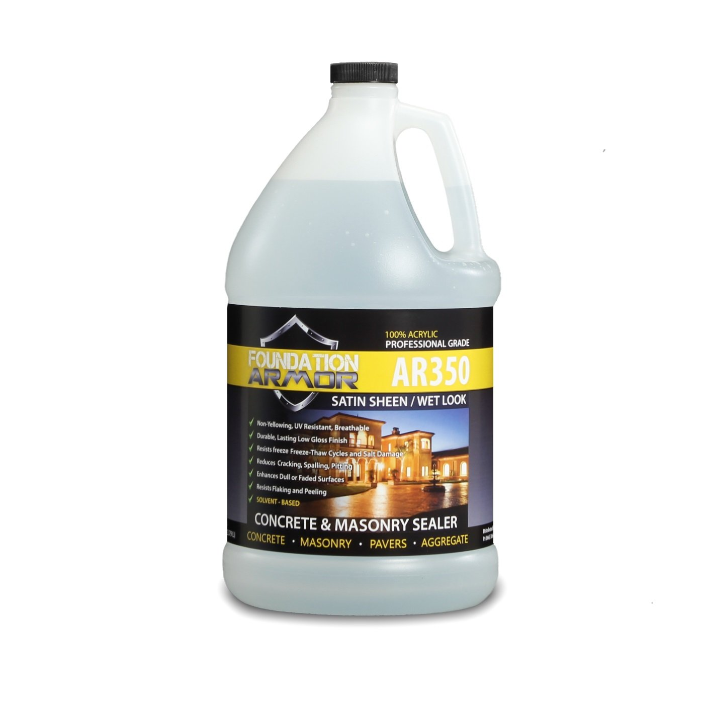 Armor AR350 Wet Look Concrete Sealer and Paver Sealer with Low Gloss Finish (1 GAL) by Foundation Armor (Image #1)