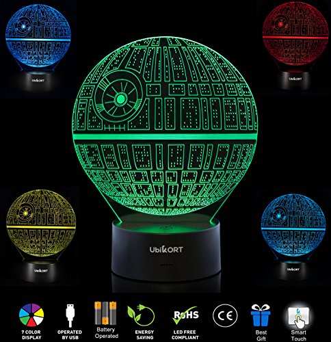 UBIKORT 3D Lamp Illusion Death Star Night Light GREAT Gift for CHILDREN and Adults, 7 Colors, Bedroom Decoration for a Star Wars Fans [UPGRADE (Star Wars Decoration Ideas)