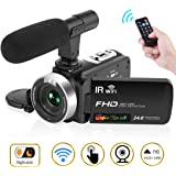 """Camcorder Digital Video Camera, Camcorder with Microphone WiFi IR Night Vision Full HD 1080P 30FPS 3"""" LCD Touch Screen Vlogging Camera with Remote Control (V2)"""