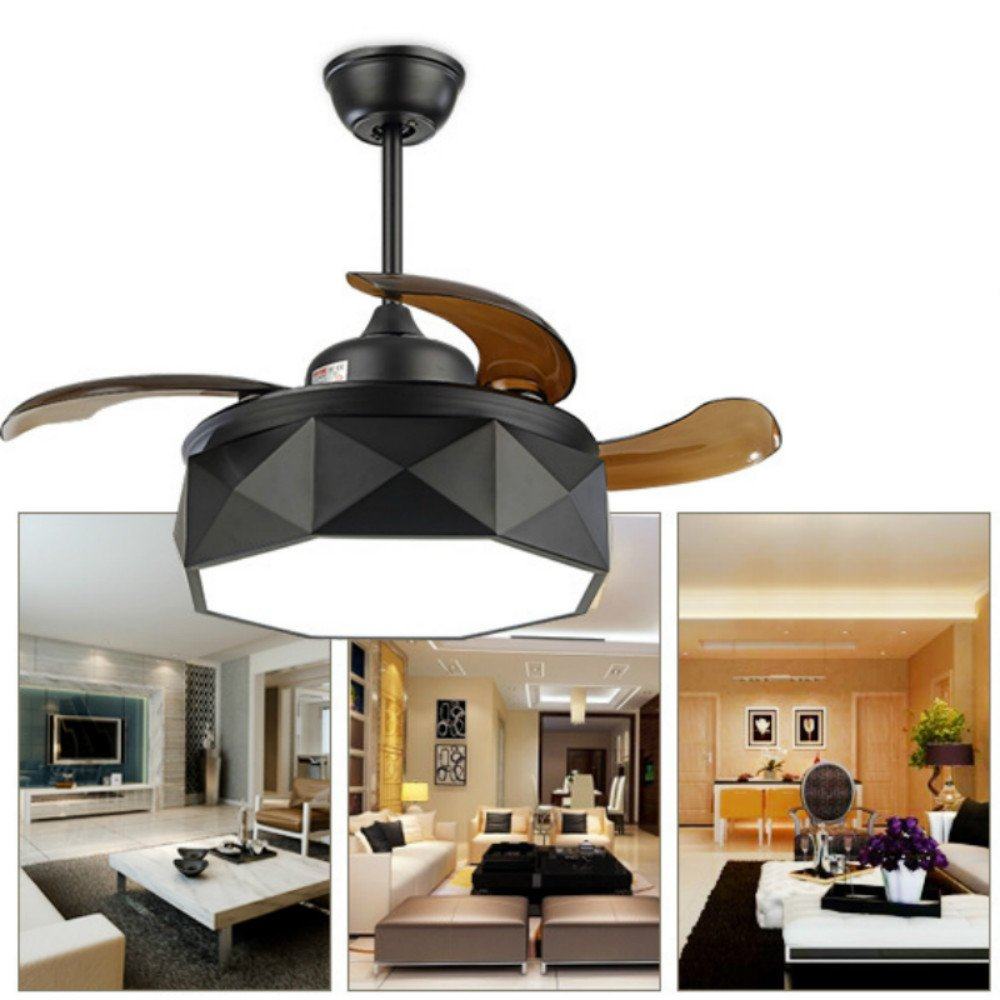 Lighting Groups 42 Inch Black Invisible Ceiling Fan Lamp LED Ceiling Fan Chandelier with Remote Contror Light, Adjustable Lighting, Adjustable Speed, Modern Style For Home (Black)