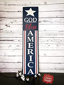 God Bless America Sign Rustic Wood Sign Americana Decor Porch Sign Forth of July Sign Memorial Day Country Sampler Magazine,Produced in The U.S.