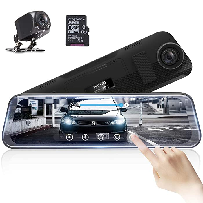 Mirror Dash Camera for Cars - AKASO Dash Cam 10'' Stream Media Full Touch Screen with 32GB Card 1080P Dual Recording Reversing Image G-Sensor Parking Monitor with Waterproof Backup Camera (DL9)