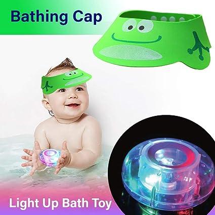 777795fa Amazon.com: Set of Baby Bathing Cap +Bath Light-up Floating Toy ...