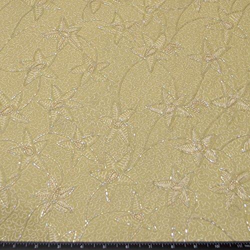 Beaded floral embroidery on greenish yellow Silk Chiffon, 100% Silk Fabric, By The Yard, 44