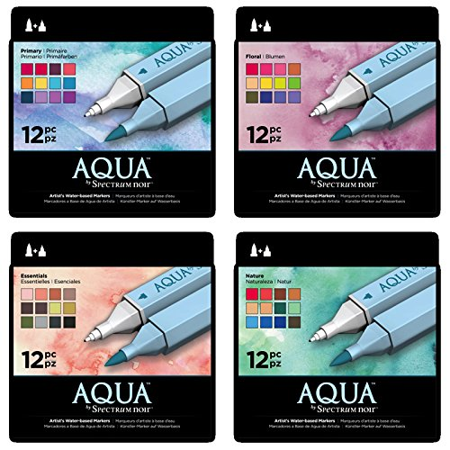 Spectrum Noir Aqua Water Based Marker Art Craft Marker Pens - All 4 x 12 Packs by Spectrum Noir