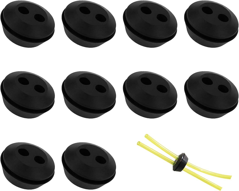10 Piezas Ojales de Goma con 2 Orificios Depósito de Universal Arandela de Gomal Arandela de Goma Tapón de Goma para Manguera de Combustible Manguera de Gasolina Recortadora de Césped, Negro