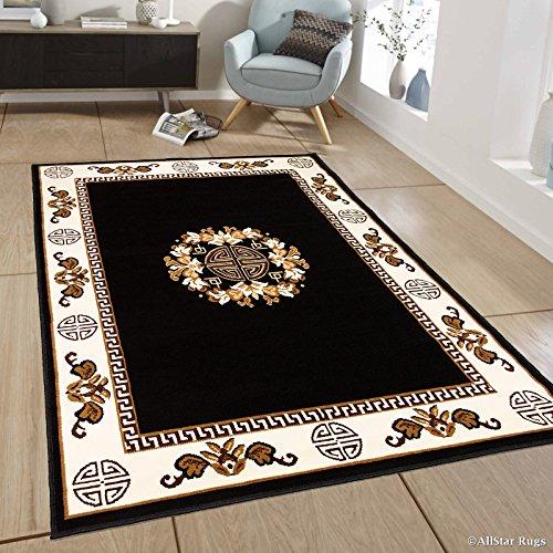 Allstar 8 X 11 Black Woven Traditional Persian Floral Design