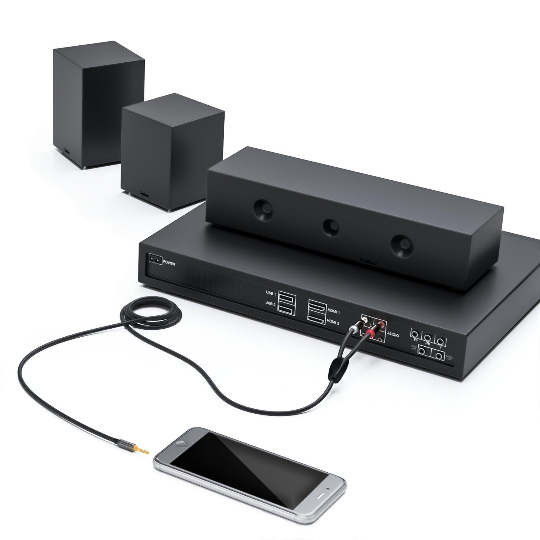 Cable Cinch con conector Audio Jack de 3.5mm deleyCON Negro Cable con 1 conector de Audio Jack 3.5mm y 2 conectores RCA Cinch 5 m