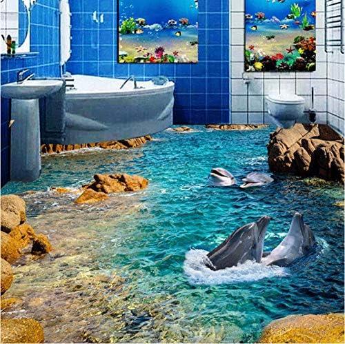 装飾画 カスタムイルカシービュー3Dフロアステッカー壁紙ロールサイズ浴室自己接着PVC防水床壁紙家の装飾