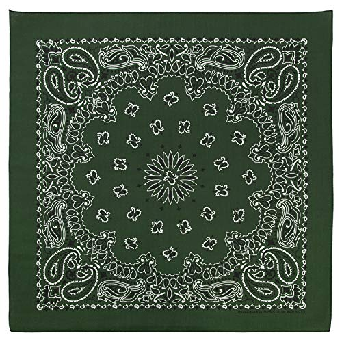 100% Cotton Western Paisley Bandanas (22 inch x 22 inch) Made in USA - Hunter Green Single Piece 22x22 - Use For Handkerchief, Headband, Cowboy Party, Wristband, Head Scarf - Double Sided Print