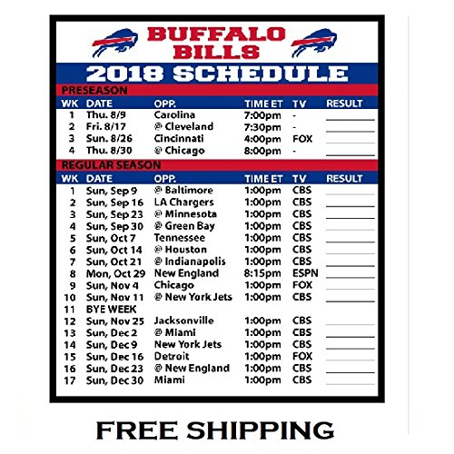 2018 Buffalo Bills NFL Football Schedule and Scores Refrigerator Magnet #504 Score Buffalo