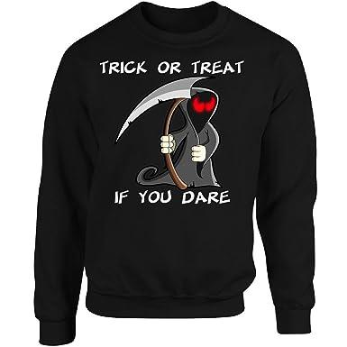 gilded penguin grim reaper dares you to trick or treat for halloween adult sweatshirt