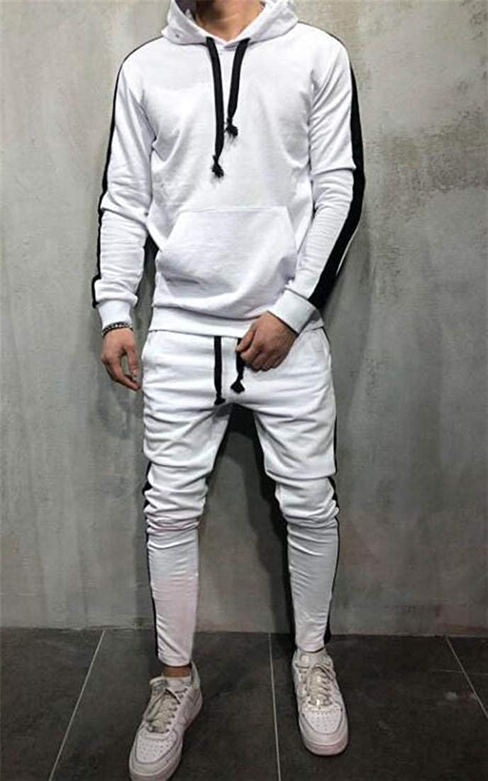 willwinMen WillingStart Mens Two Piece Drawstring Sweatshirt Long Pant Sport Suits Tracksuits