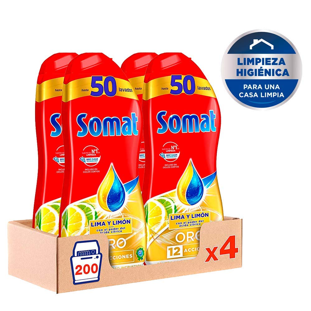 Somat Oro Gel Lavavajillas Limón – Pack de 4, Total: 200 lavados ...