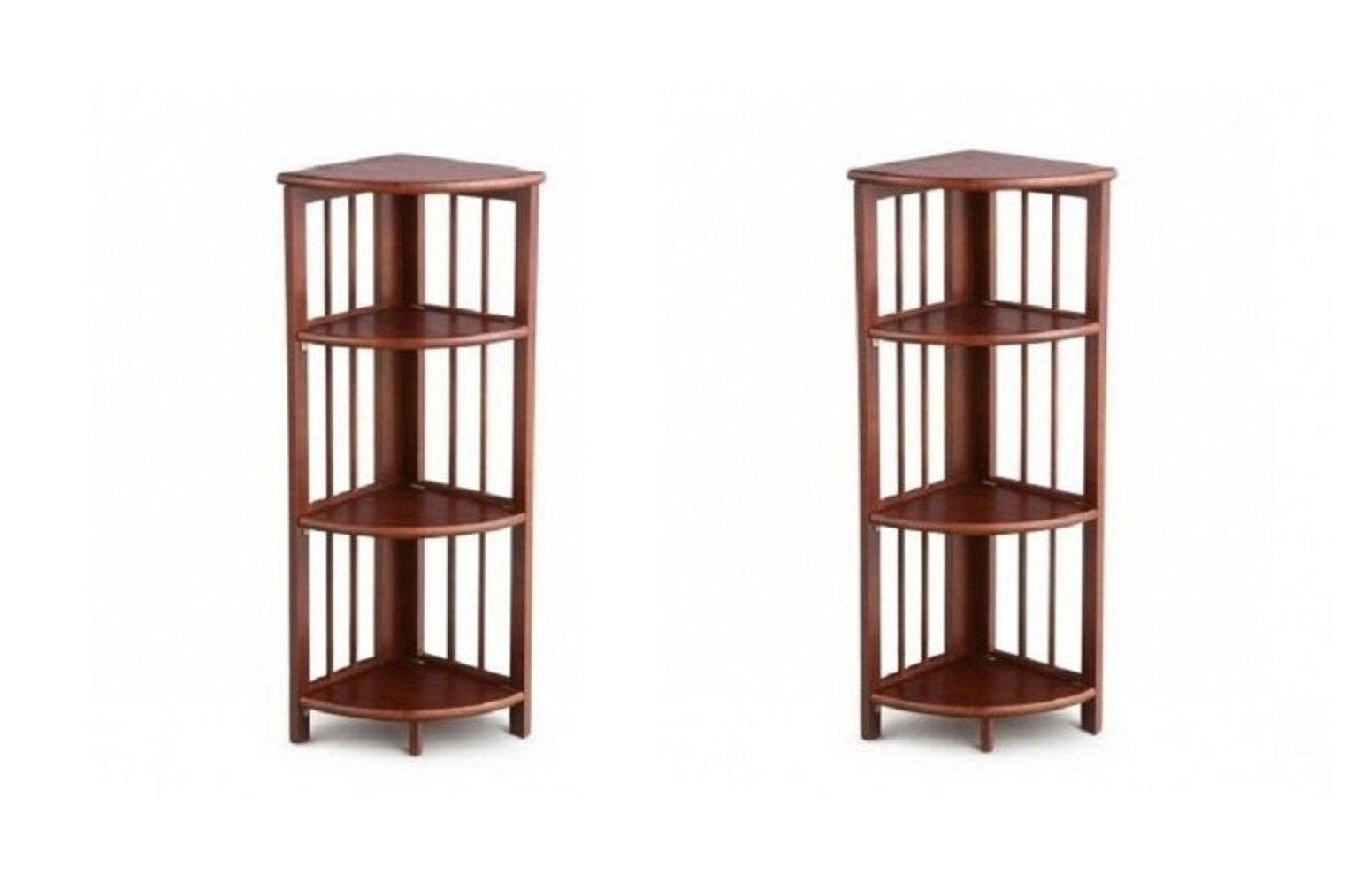 3 Level Corner Folding Pine Wood Book Case Set of 2 - Walnut 38'' by HOMESUPPLIES