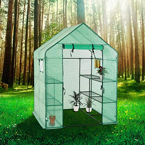 Portable Gardening Steeple Green House with PE Cover, 3 Tier 12 Shelf Waterproof Walk in Plant Green House,56'' L x 56'' W x 77'' H by SCYL (Image #5)