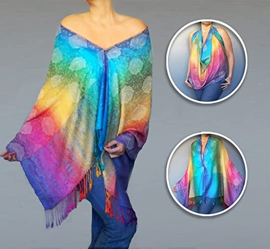 f40dfaedc8973 Amazon.com  Rainbow Shawl Poncho Off The Shoulder Top Hippie Clothes By  ZiiCi  Handmade