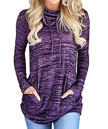T Tops Printemps Chemisiers Mode Shirts Shirt Clair Violet Casual Pullover Sweat Femmes Automne Manches et Hauts Onlyoustyle Tunique Longues Blouse Pulls zqdYY