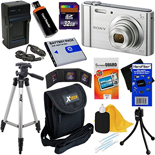 W800 20.1 MP Digital Camera with 5x Zoom & Full HD Video, Silver (International Version) + NP-BN1 Battery & AC/DC Charger + 9pc 32GB Dlx Accessory Kit w/HeroFiber Cleaning Cloth ()