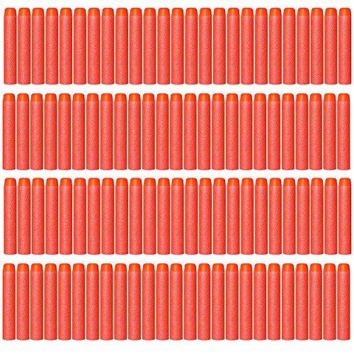 AMOSTING 100 PCS Foam Darts Universal Standard Refill Soft 2.84in (7.2cm) Round Head Bullet Pack for Most Nerf N-strike Elite etc Series Blasters Toy Hand Gun - Red
