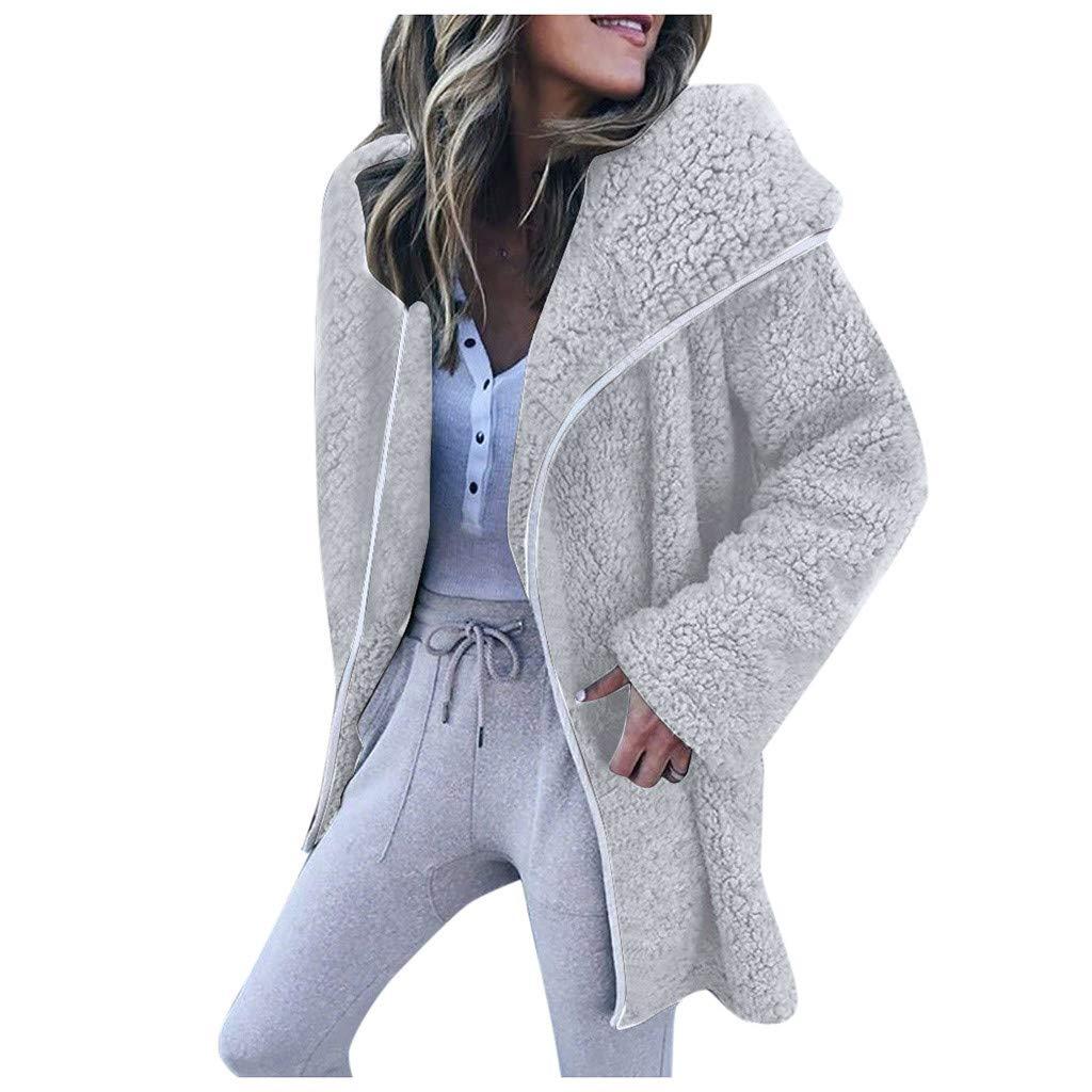 Dermanony Womens Coat Jacket Winter Warm Parka Outwear Solid Color Lapel Cardigan Sweater Casual Fleece Jacket Coat Gray by Dermanony _Coat