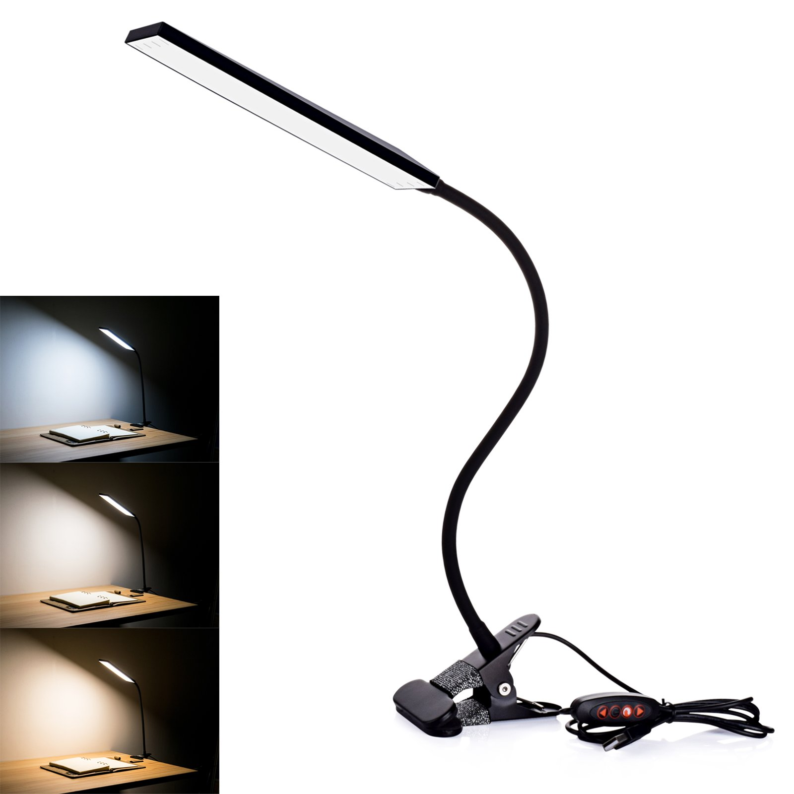 LED Desk Lamp, RAOYI Eye-Care Dimmable Flexible Gooseneck USB Table Lamp, 3 Color Temperatures, 14 Brightness Levels Clip Reading Lamp for Studying, Working, Black by RAOYI (Image #6)