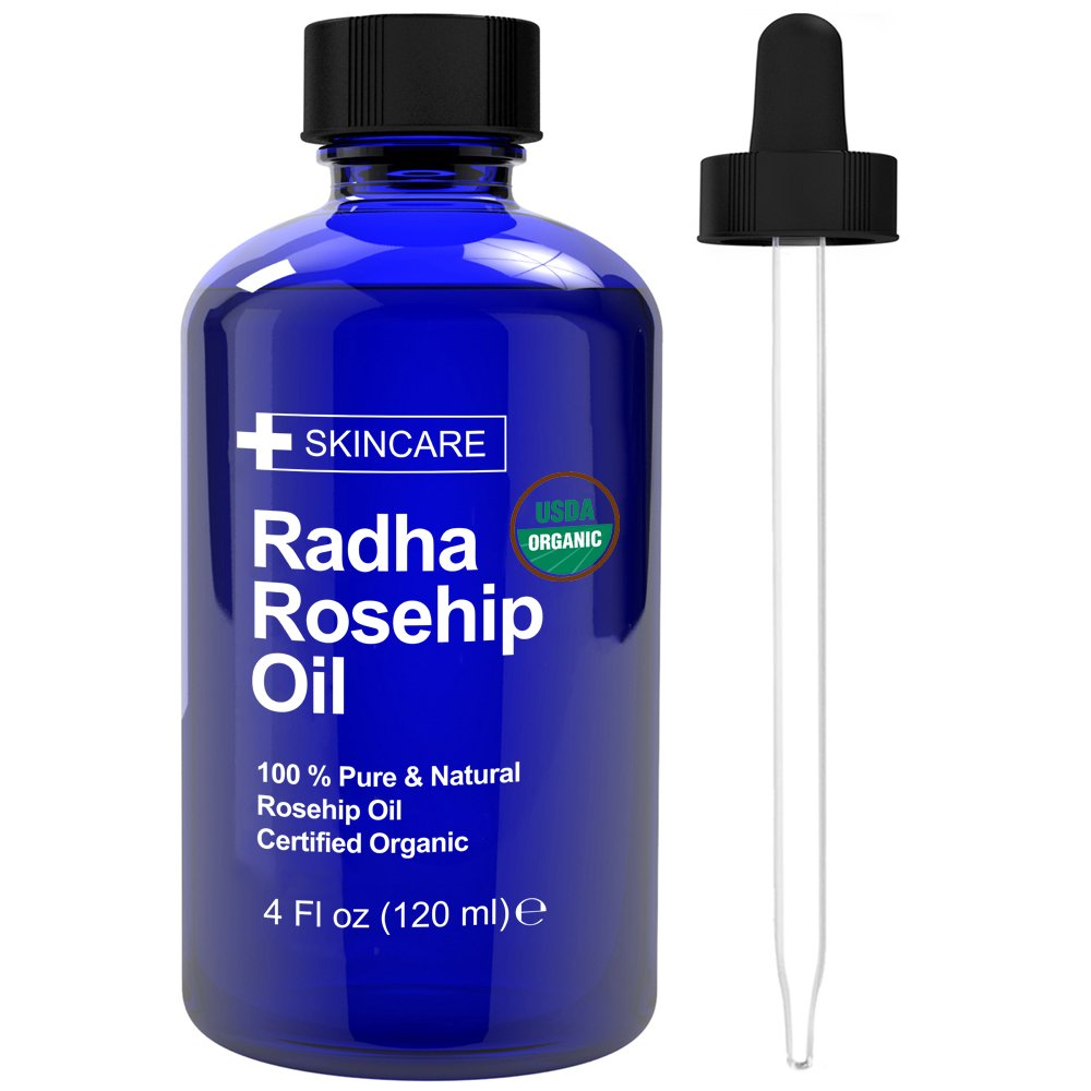 Radha Beauty Usda Certified Organic 100 Percents Pure Oil   4 Oz. (Rosehip) by Radha Beauty