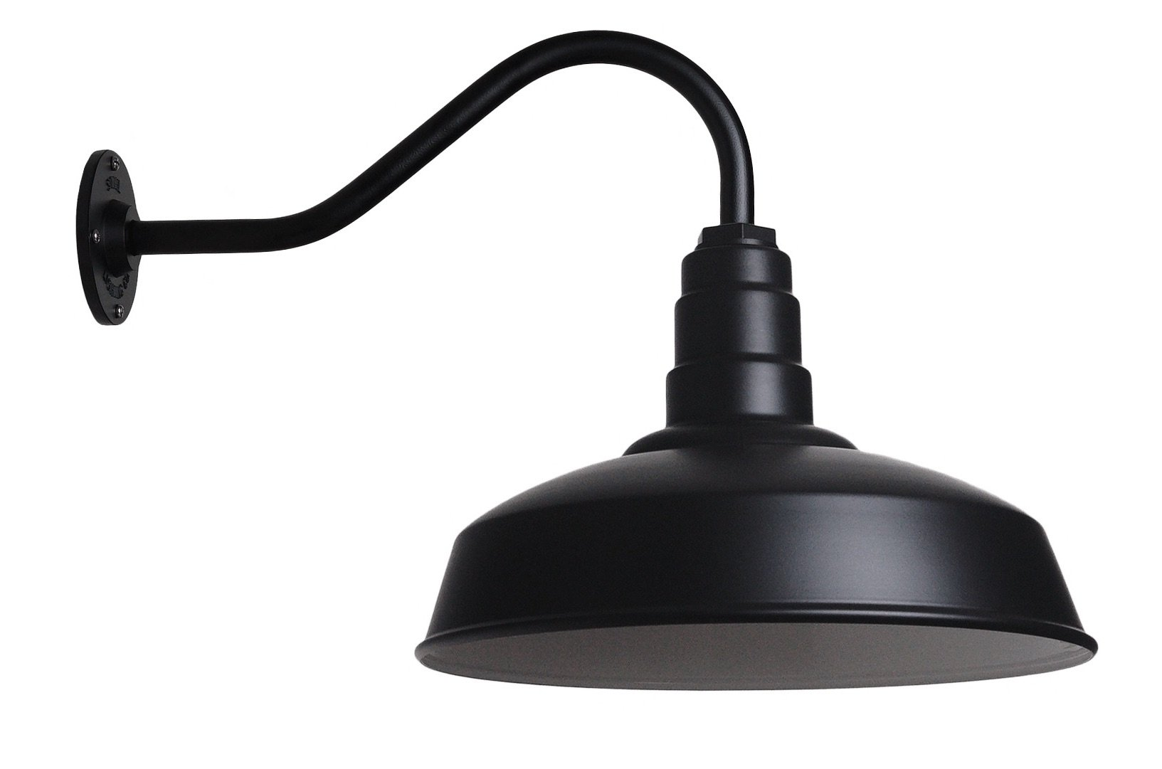 The Gardena Gooseneck Barn Light | Standard Warehouse Steel Dome on a Gooseneck | Barn Lighting and Farmhouse Lighting | Made in America (16'' Gooseneck, Matte Black) by Steel Lighting Co.