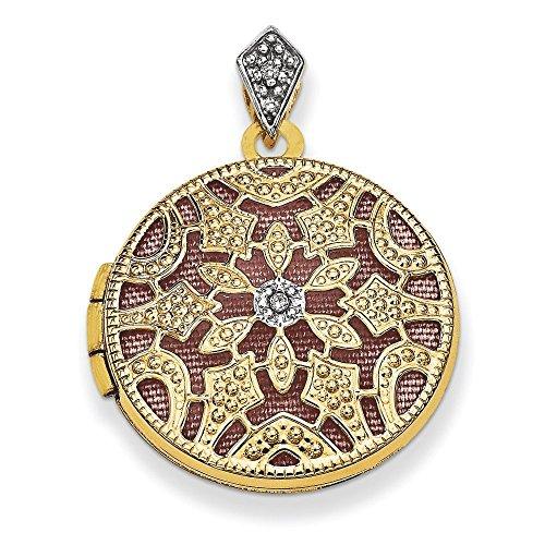 Or 14ct Diamant 20mm rond avec médaillon vintage