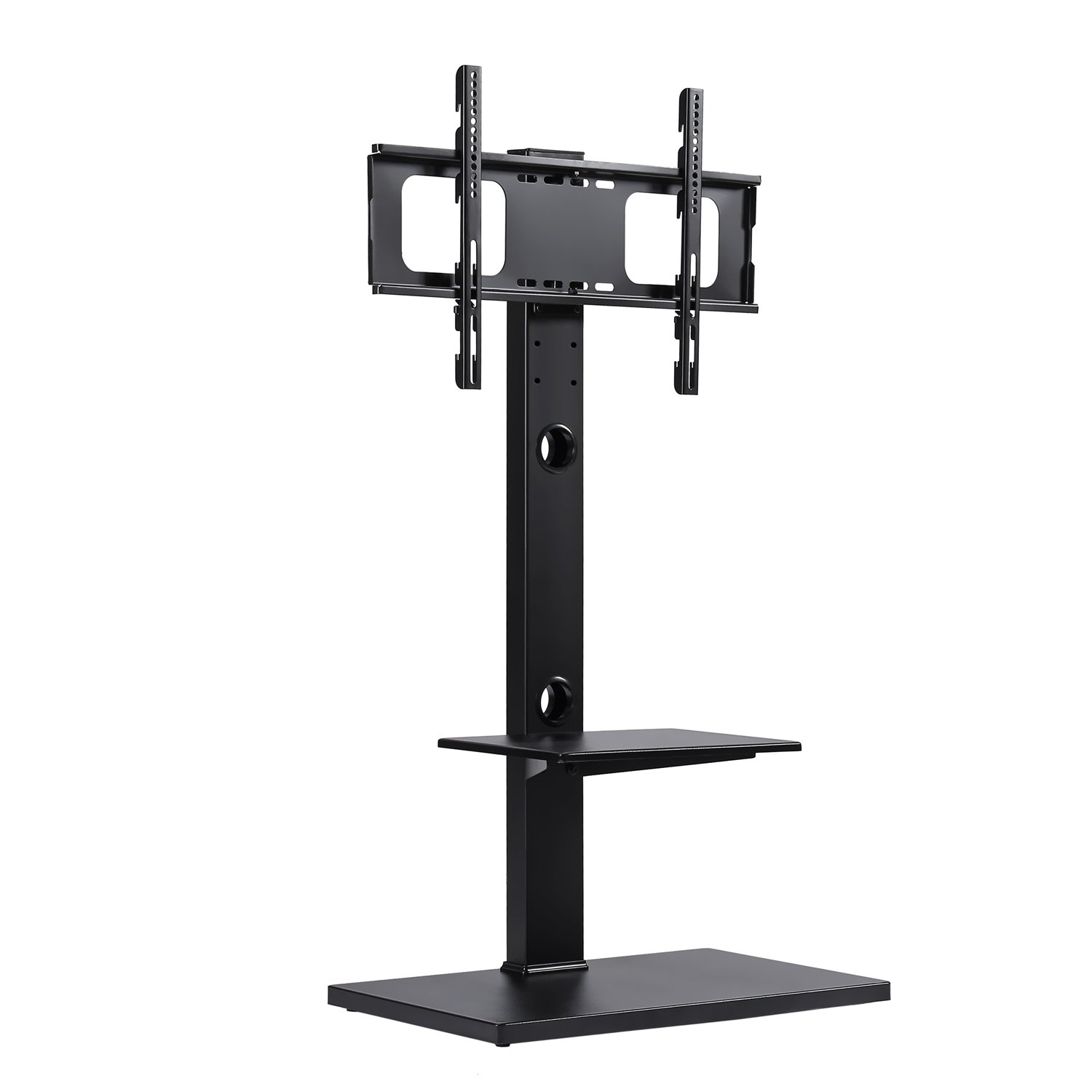 Rfiver Swivel Floor TV Stand with Mount and Two Shelves for 32 to 65 Inches Plasma/LCD/LED TVs, Black TF1001
