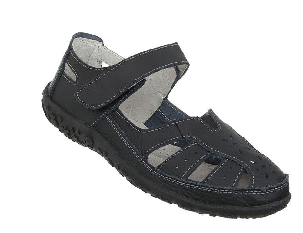 Damen Schuhe Sandalen Leder Klettverschluszlig;37 EU|Schwarz