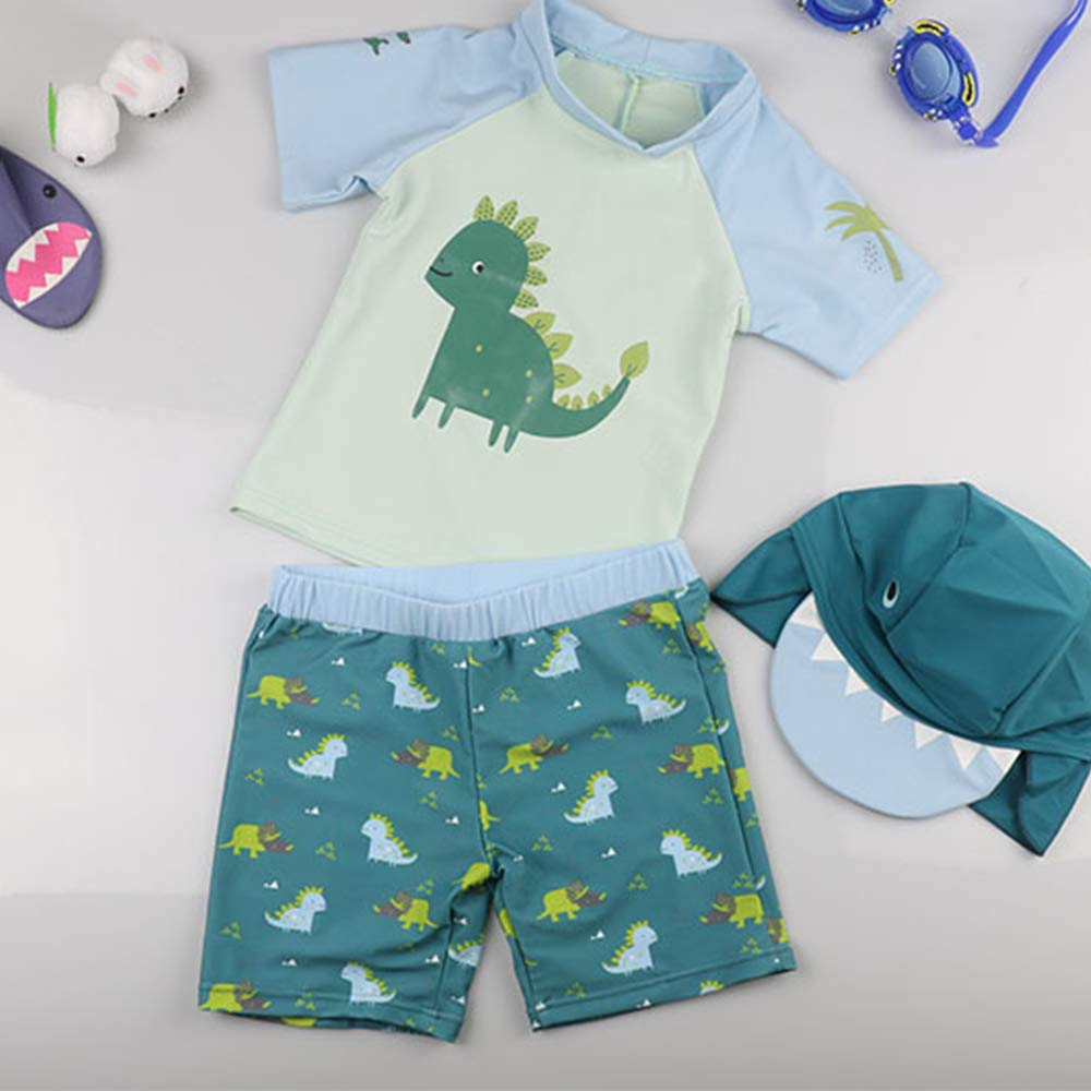 Runola Baby Boy Swimsuit Cartoon Dinosaur UPF 50 Sunscreen Bathing Suit Rash Guards with Hat Kids Summer Beach Swimwear