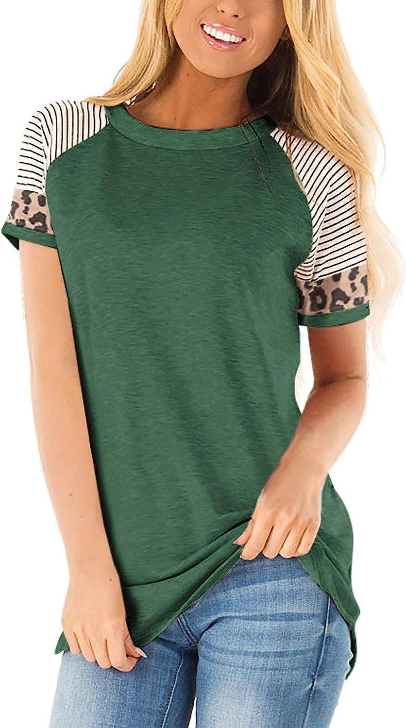 QACOHU Womens Striped Color Block Tunic Tops Leopard Short Sleeve Blouses Shirt