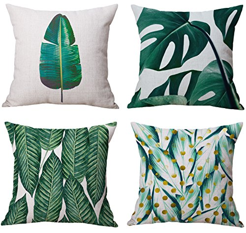 Modern Simple Tropical Plants Series Cotton & Linen Burlap Square Throw Pillow Covers, 18 x 18 Inches, Set of 4 (Tropical Plants) (Seat Four Sofa Series)