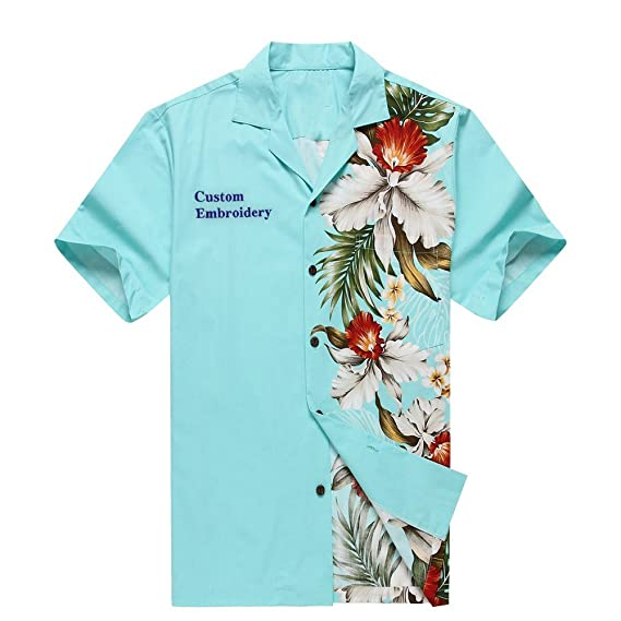cc4f281d Made in Hawaii Men's Hawaiian Shirt Aloha Shirt Side Floral Orchid  Turquoise: Amazon.co.uk: Clothing