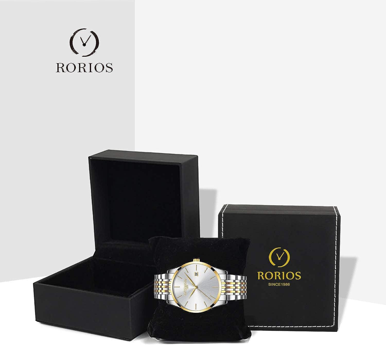 Rorios Mince Montres Bracelet Business Homme Quartz Analogique Date Acier Inoxydable Band étanche Multifonction