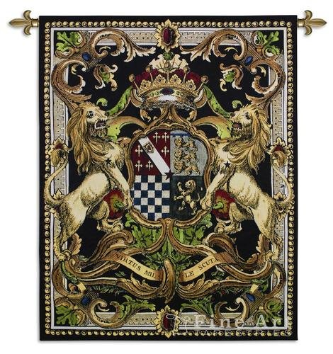 Crest On Black Ii by - Woven Tapestry Wall Art Hanging for Home Living Room & Office Decor - Medieval Royal Castle Heraldic Crest Tapestry - Lion Crown Classical Design - 100% Cotton - USA ()