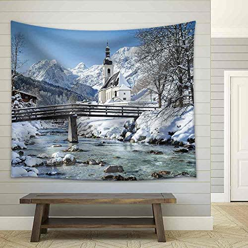 Panoramic View of Scenic Winter Landscape in The Bavarian Alps Fabric Wall