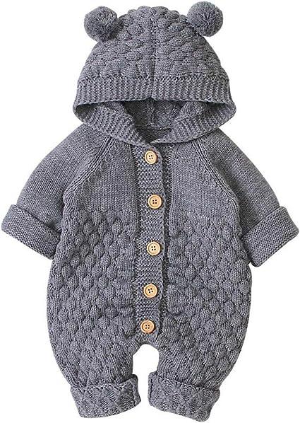 DaMohony Kleinkind Baby Strampler Herbst Winter Knopfleiste Strickwaren mit Kapuze Overalls f/ür 3-24 Monate