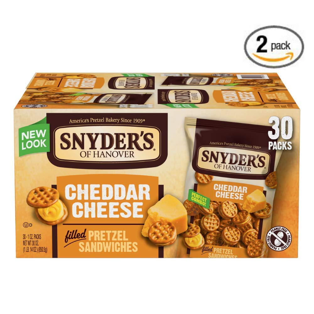 Snyder's of Hanover Pretzel Sandwiches, Cheddar Cheese, Single-Serve 1 Ounce, 30 Count, Pack of 2 by Snyder's of Hanover