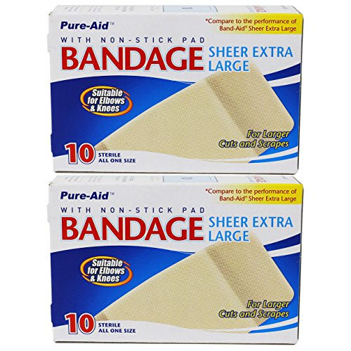 Pure-Aid Extra Large Sheer Bandage-10ct (2 Pack)