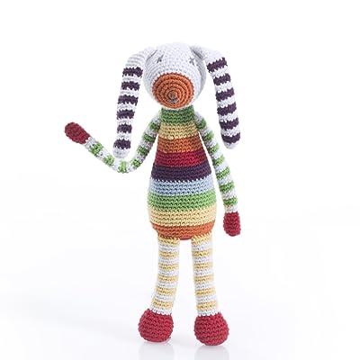 Pebble | Handmade Bunny Rattle - Rainbow Striped | Crochet | Fair Trade | Pretend | Imaginative Play | Machine Washable : Plush Toys : Baby