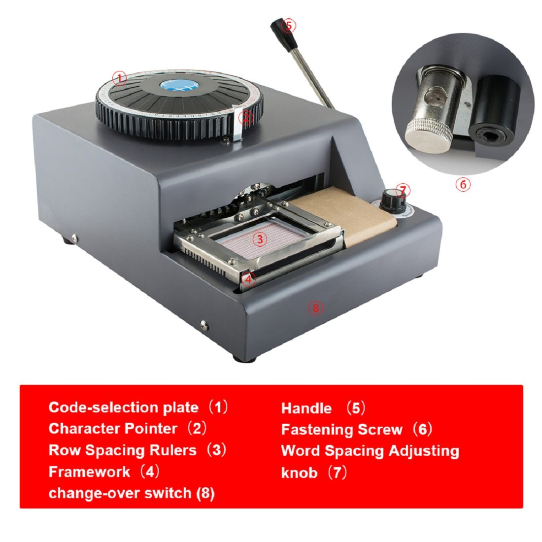 Tinsay 72 Character Letters Manual Embosser PVC Embosser 72 Characters Manual Embossing Machine PVC Gift Card Credit VIP ID Membership Stamping Embossing- US Shipping, 3-6 Days Delivery