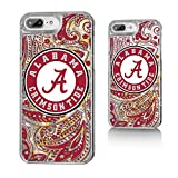 Keyscaper NCAA Alabama Crimson Tide UA Paisley Glitter Case for iPhone 8 Plus/7 Plus/6 Plus, Clear