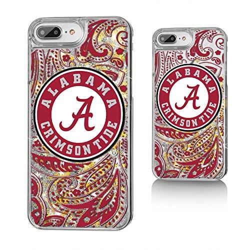 Keyscaper NCAA Alabama Crimson Tide UA Paisley Glitter Case for iPhone 8 Plus/7 Plus/6 Plus, Clear by Keyscaper