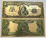Authentic $5.00 SILVER CERTIFICATE 24kt Gold Plated Bank Note One-of-a-kind Collectors Item