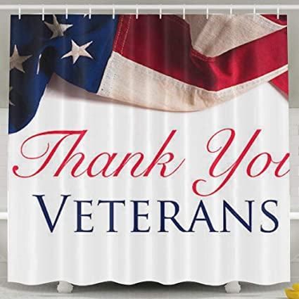 FVCXKM Personalized Shower Curtain Remembrance Honoring Our Veterans Everyday Waterproof Polyester Bathroom CurtainDecorative
