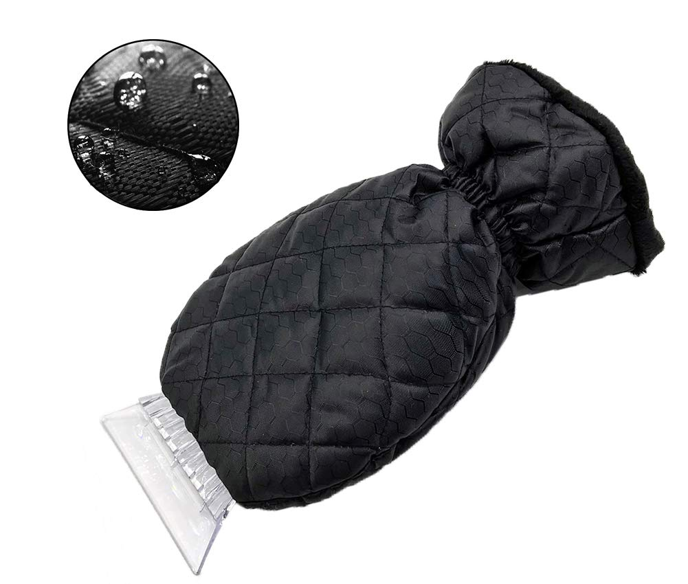 Tafeiya Thick Fleece Ice Scrapers Mitten and ABS Snow Scraper Tool for Car with Antifreeze Glove and closing Elastic Wristband Snow Removal No Damage for Car (Black)