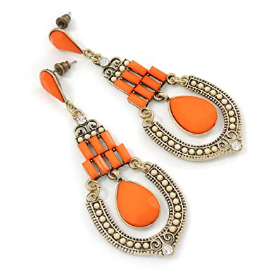 lureme® Vintage Antique Gold Hollow Diamond Shape Orange and Green Beads Stud Earrings(02005171) mlCnh0t
